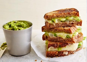 Recipe grilled Swiss cheese sandwich & asparagus