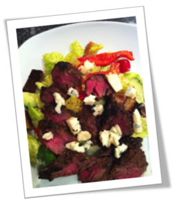 Marinated Hangar Steak with Dragon's Breath Blue Cheese