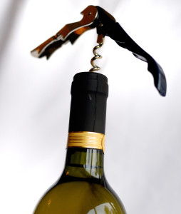 ED wine bottle and corkscrew